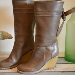 See by Chloe Taupe leather mid high boots